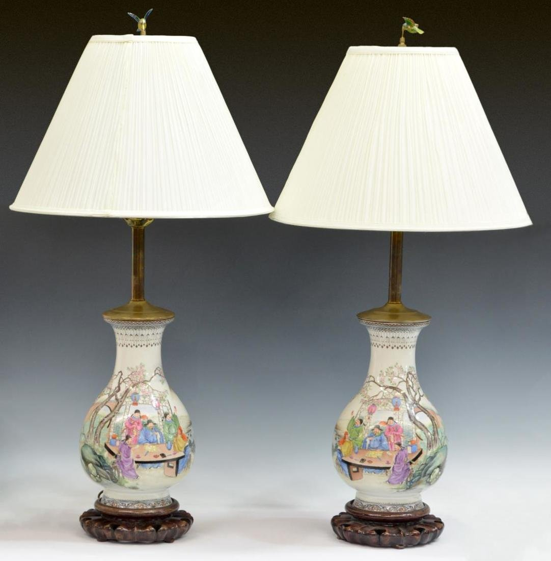 (PAIR) CHINESE FAMILLE ROSE VASIFORM LAMPS W/SHADE