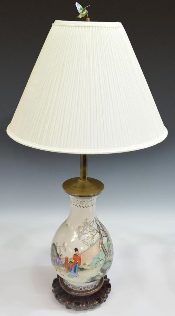 (PAIR) CHINESE FAMILLE ROSE VASIFORM LAMPS W/SHADE - 2