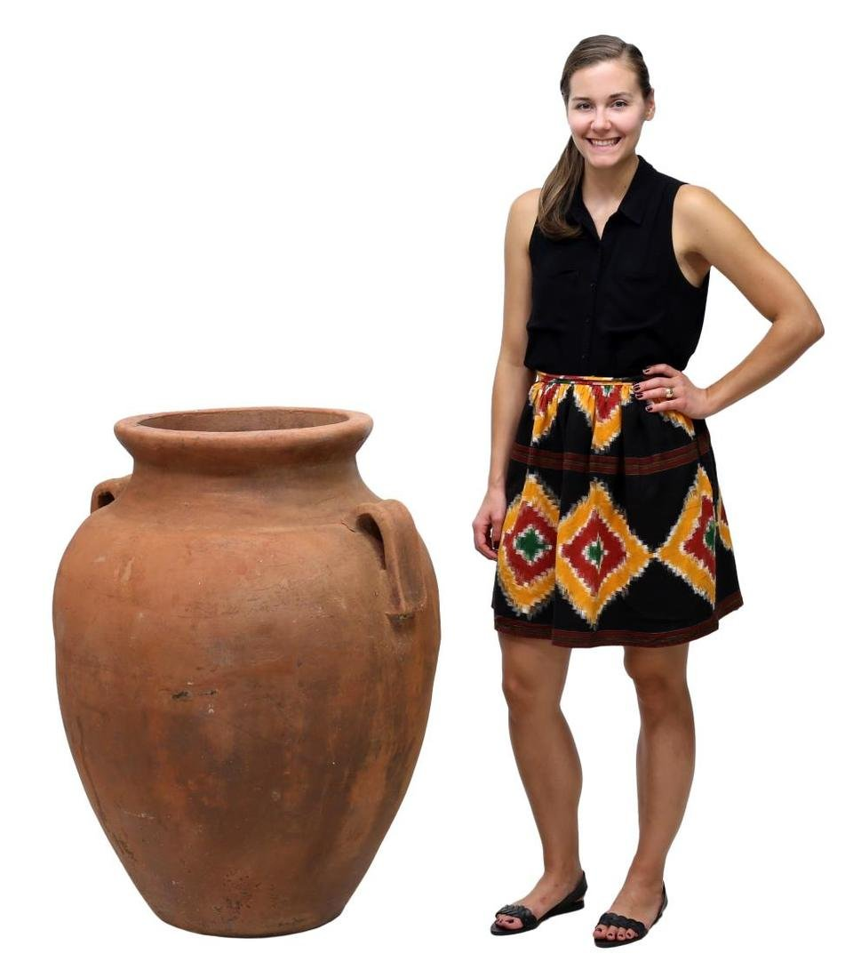"""LARGE TERRACOTTA TWO HANDLE JAR, 37""""H"""