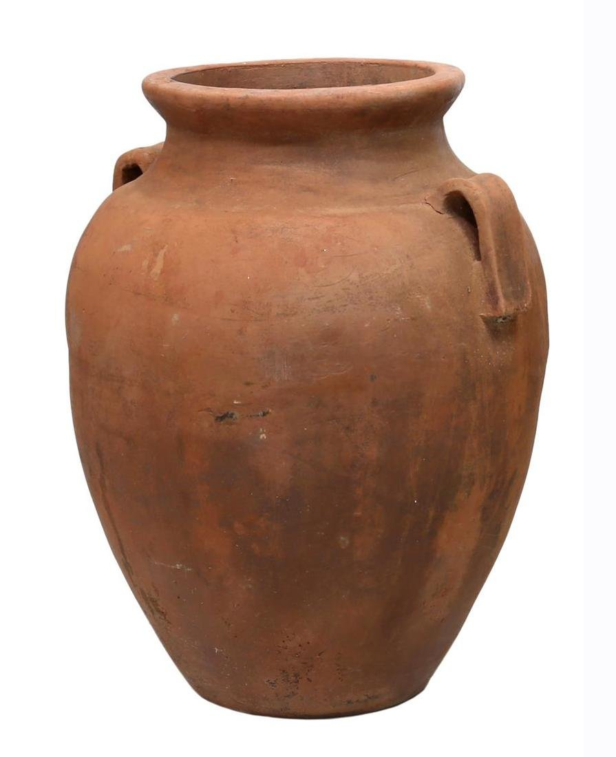 """LARGE TERRACOTTA TWO HANDLE JAR, 37""""H - 2"""
