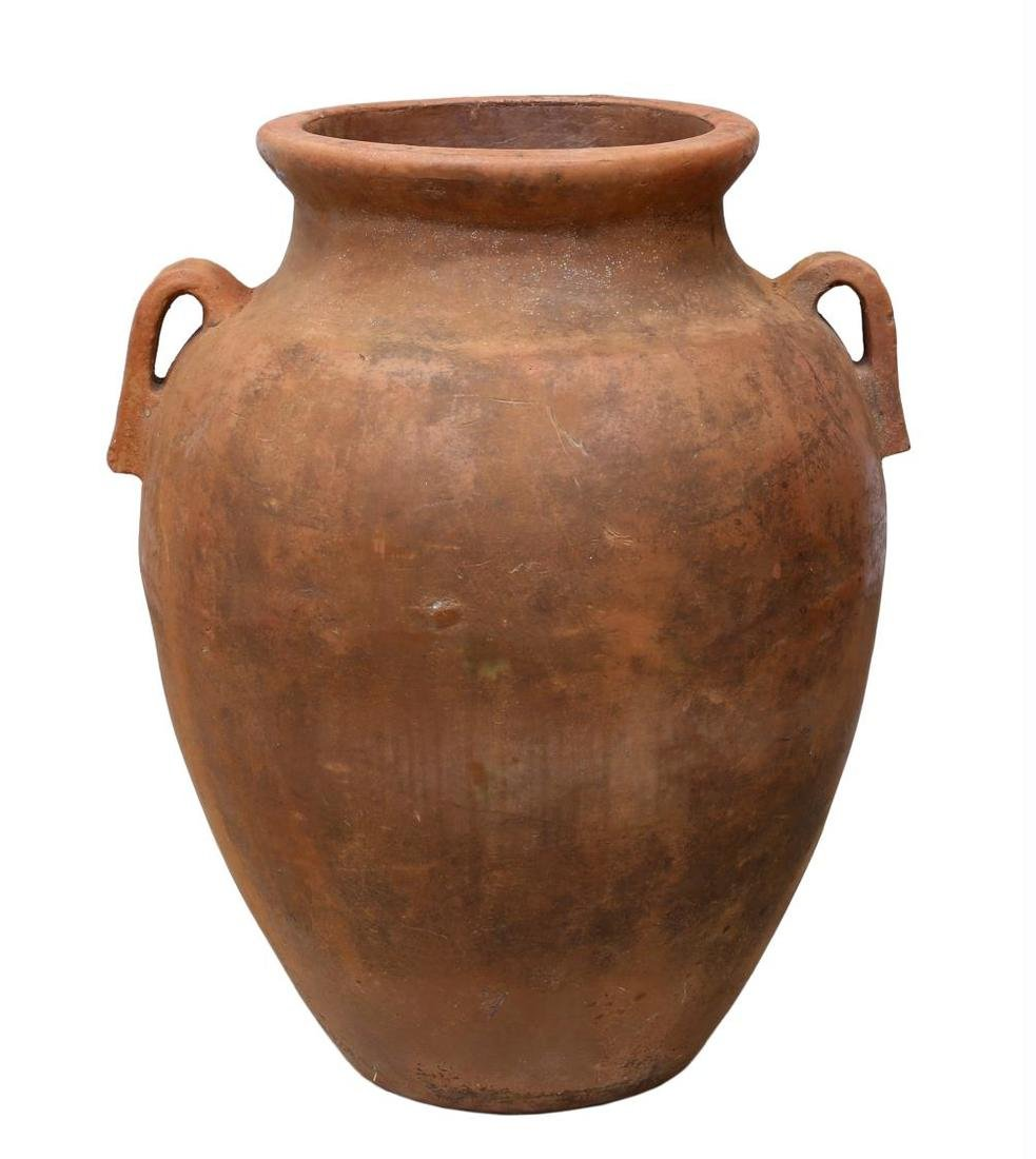 """LARGE TERRACOTTA TWO HANDLE JAR, 37""""H - 3"""