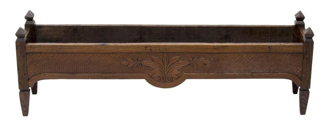 CARVED WOOD PLANTER BOX - 2