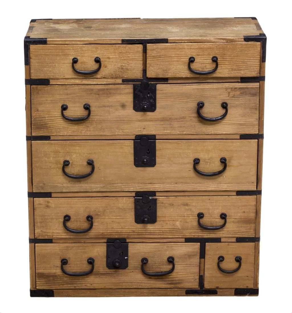 JAPANESE IRON STRAPPED TANSU CABINET - 3