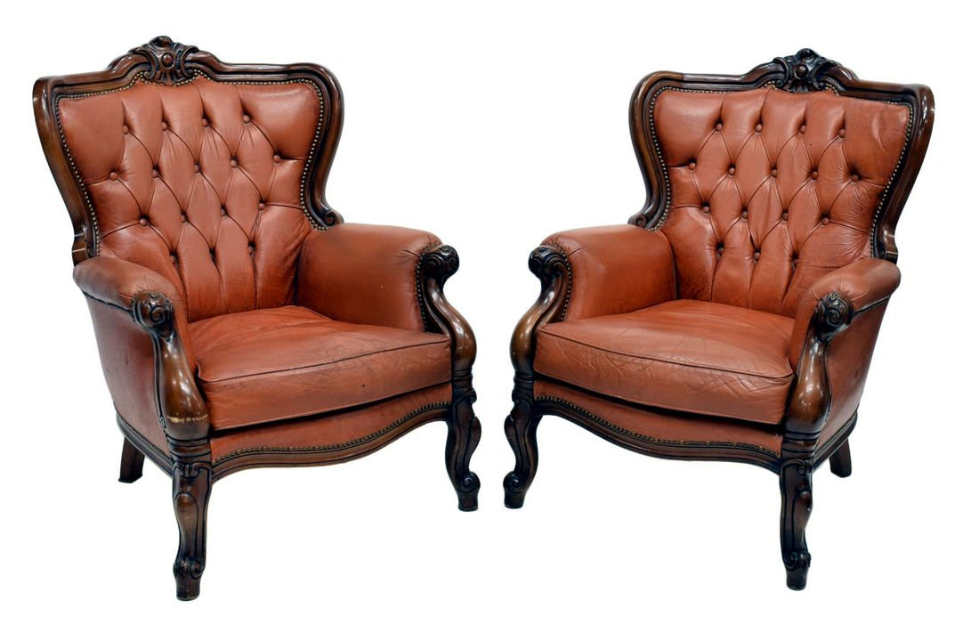 (PAIR) ITALIAN BAROQUE LEATHER WINGBACK ARMCHAIRS