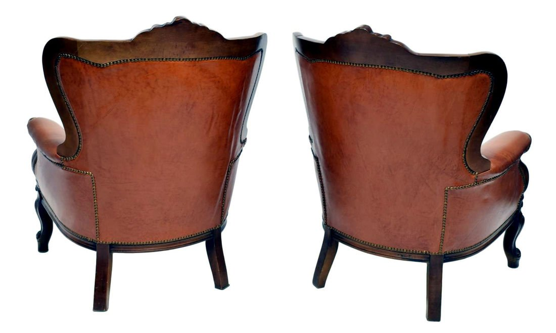 (PAIR) ITALIAN BAROQUE LEATHER WINGBACK ARMCHAIRS - 2