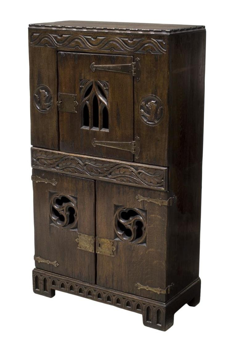 ENGLISH OAK GOTHIC REVIVAL CUPBOARD,