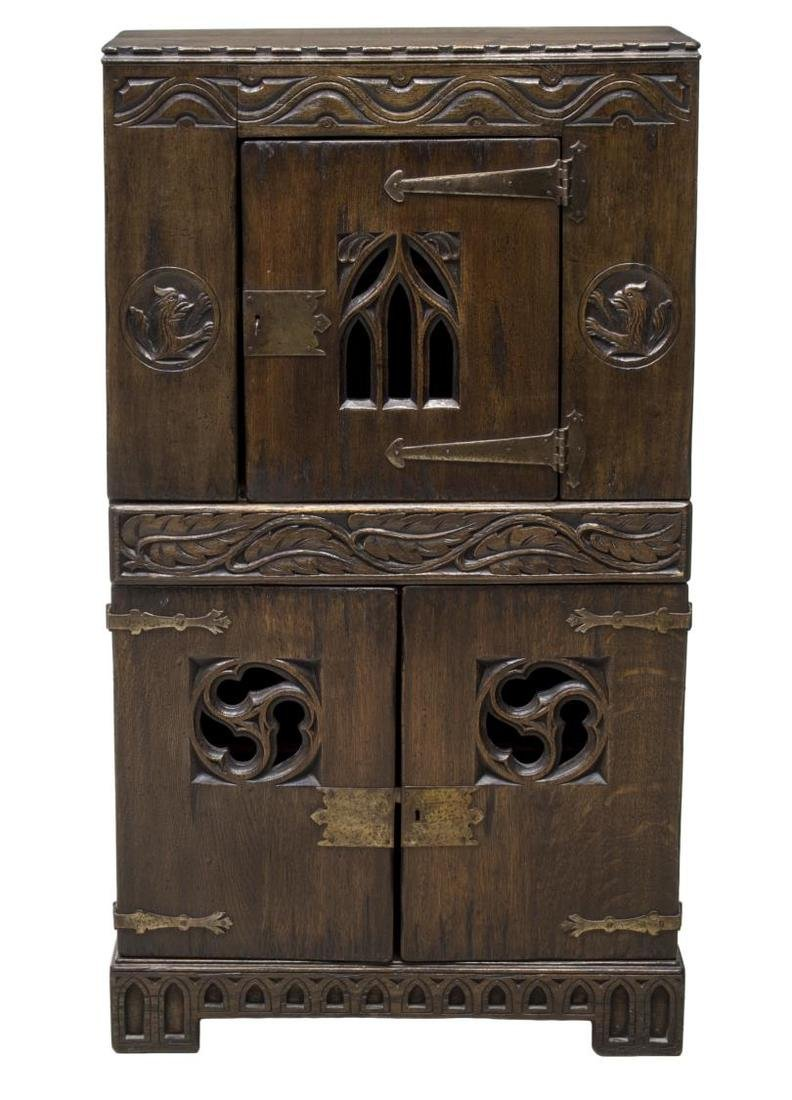 ENGLISH OAK GOTHIC REVIVAL CUPBOARD, - 2