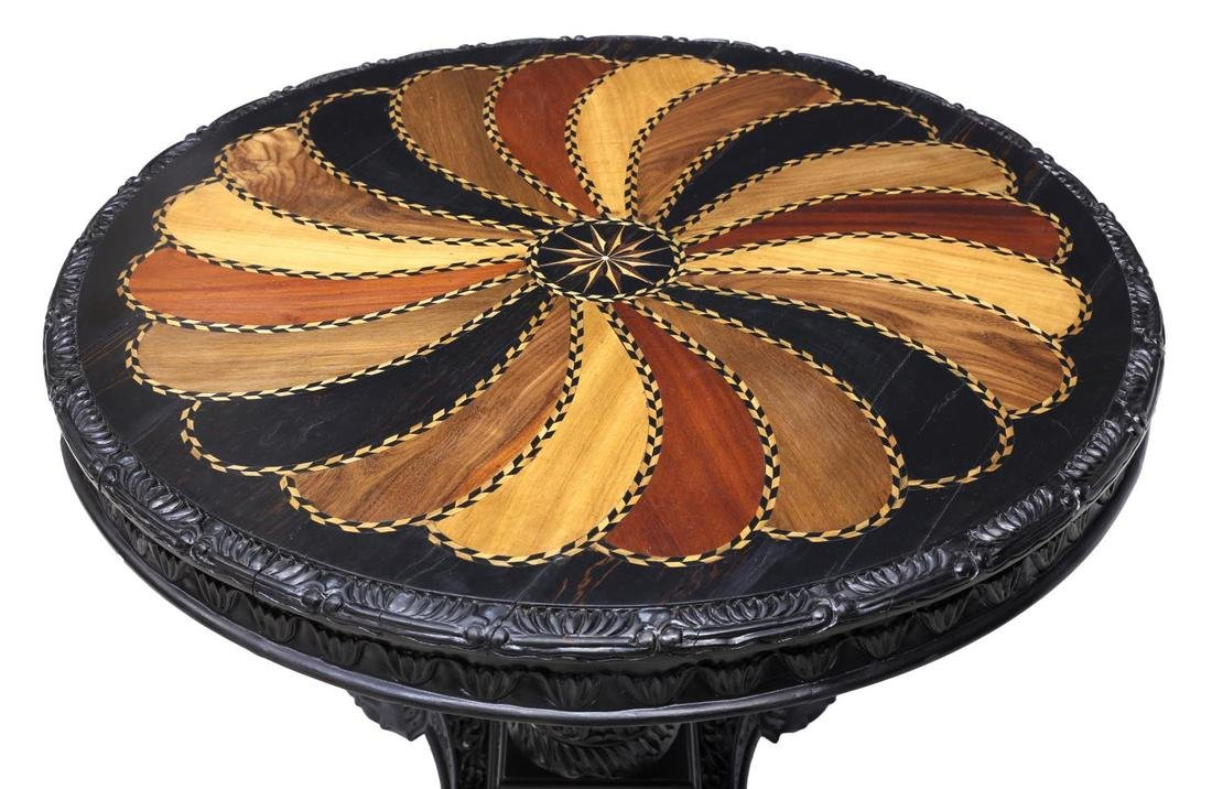 EBONY INLAID CIRCULAR TOP SPECIMEN CENTER TABLE - 2