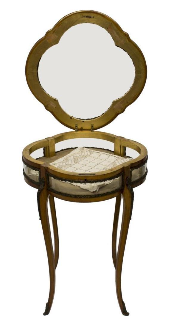 LOUIS XV STYLE GLASS PANEL LIFT TOP VITRINE TABLE - 2