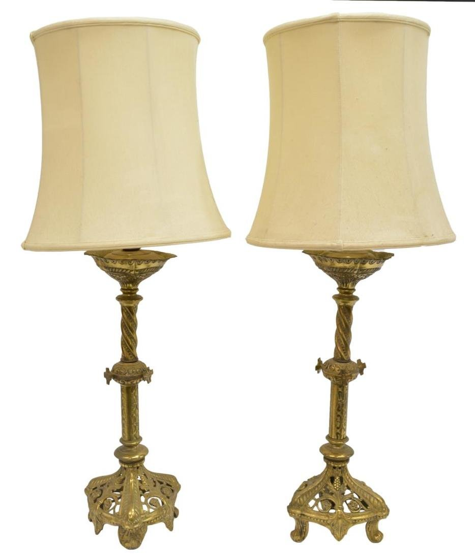 (2) CONTINENTAL PIERCED BRASS ALTAR CANDLE LAMPS