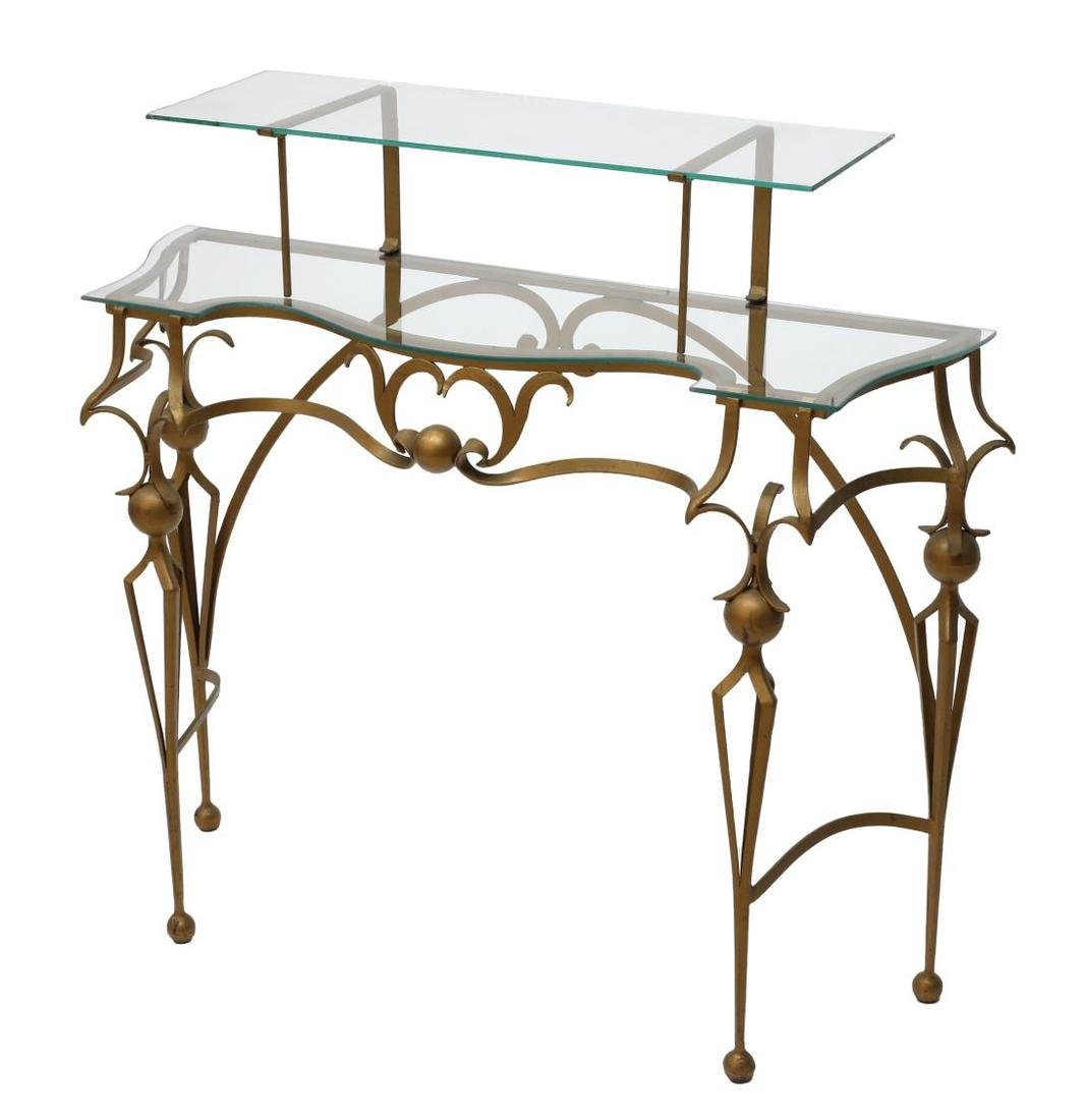 GILT WROUGHT IRON TIERED GLASS TOP CONSOLE TABLE