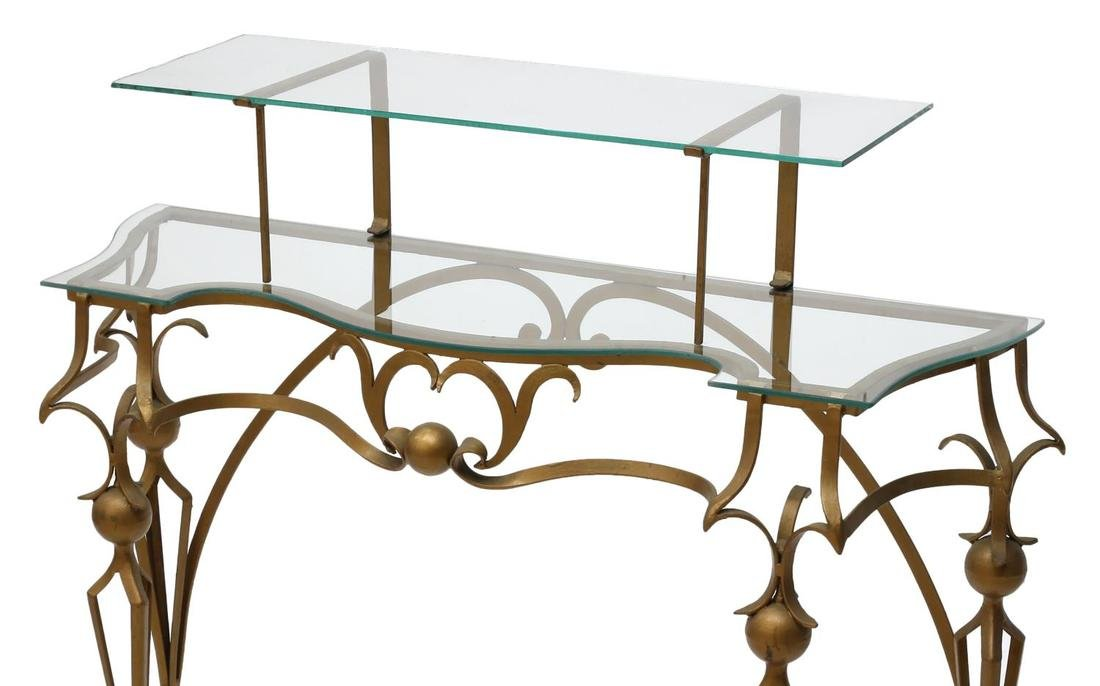 GILT WROUGHT IRON TIERED GLASS TOP CONSOLE TABLE - 2