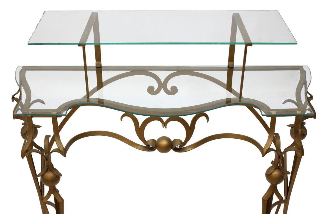 GILT WROUGHT IRON TIERED GLASS TOP CONSOLE TABLE - 3