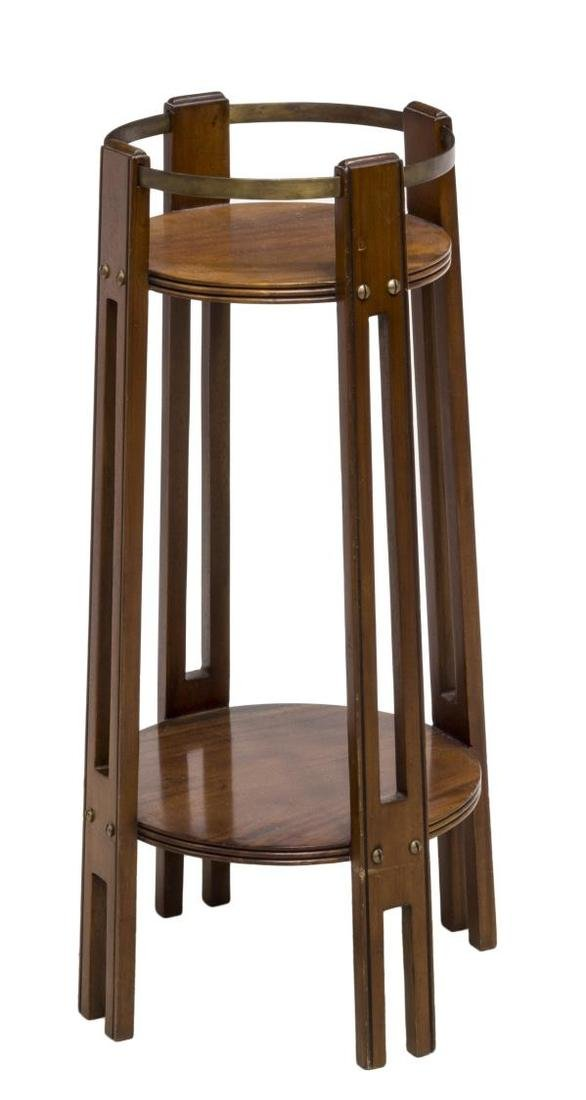 ENGLISH ARTS & CRAFTS MAHOGANY & BRASS PLANT STAND