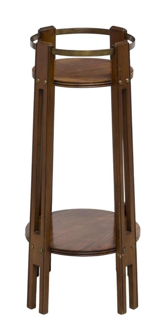 ENGLISH ARTS & CRAFTS MAHOGANY & BRASS PLANT STAND - 2