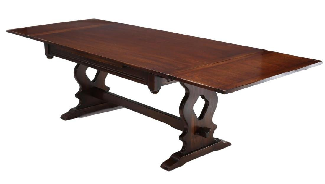 ENGLISH CARVED DRAW LEAF TRESTLE BASE DINING TABLE
