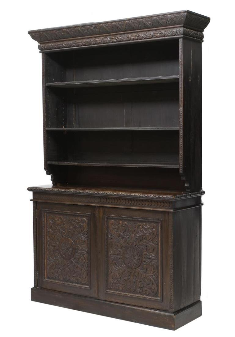 LARGE ENGLISH VICTORIAN FOLIATE CARVED BOOKCASE