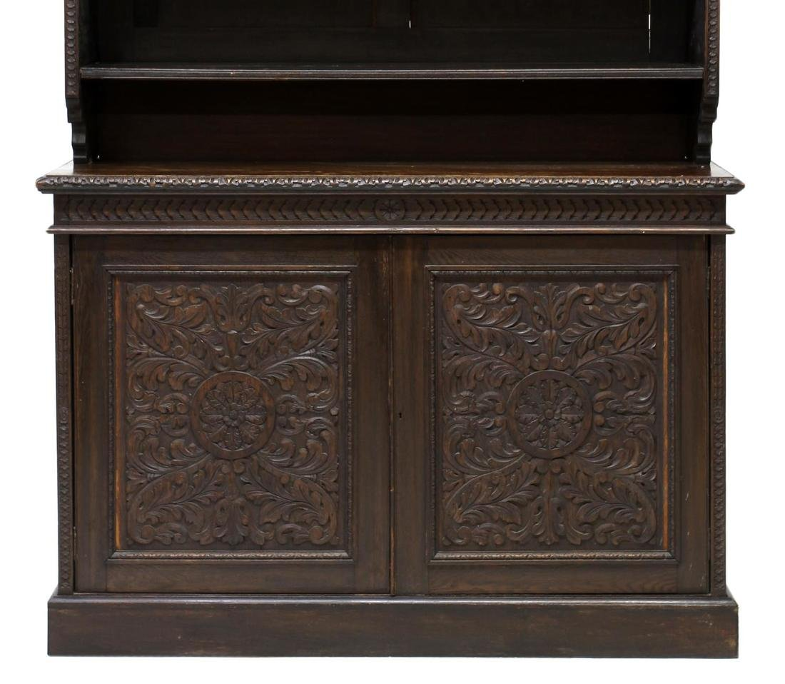 LARGE ENGLISH VICTORIAN FOLIATE CARVED BOOKCASE - 2