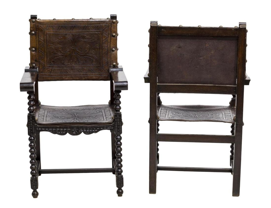 (2)SPANISH BAROQUE REVIVAL EMBOSSED LEATHER CHAIRS - 2