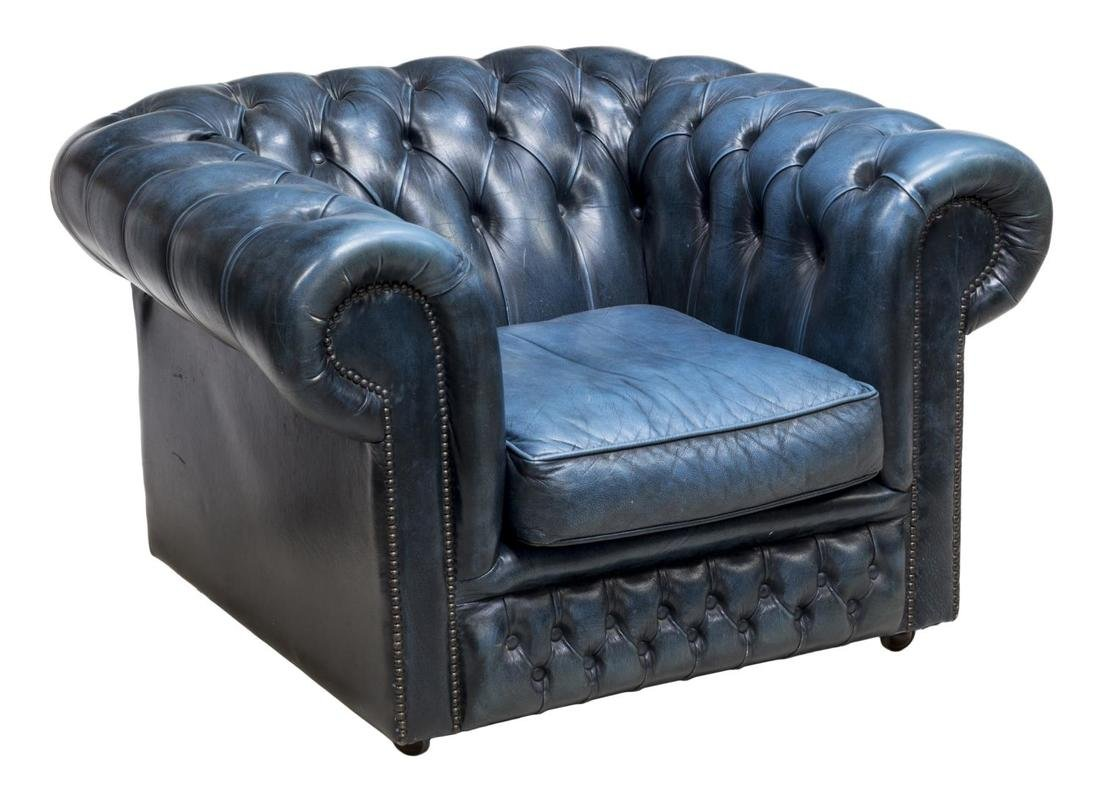 ENGLISH CHESTERFIELD BLUE LEATHER CLUB CHAIR