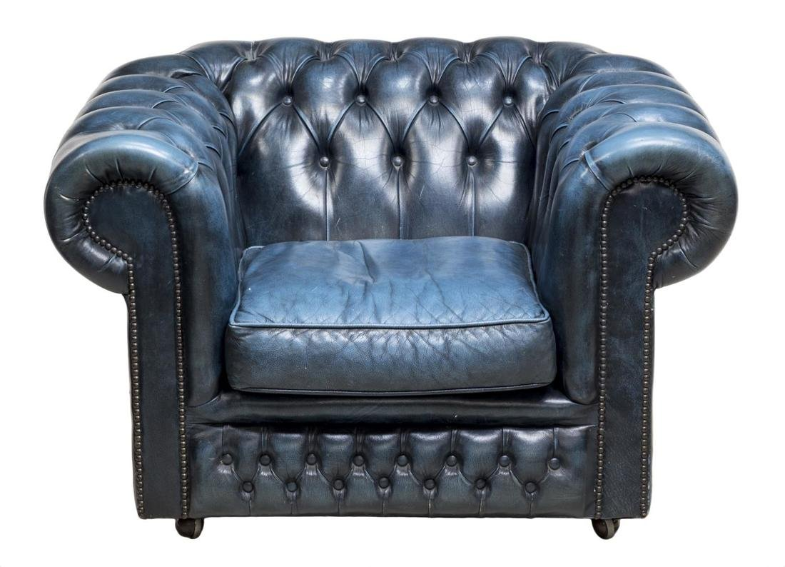 ENGLISH CHESTERFIELD BLUE LEATHER CLUB CHAIR - 2