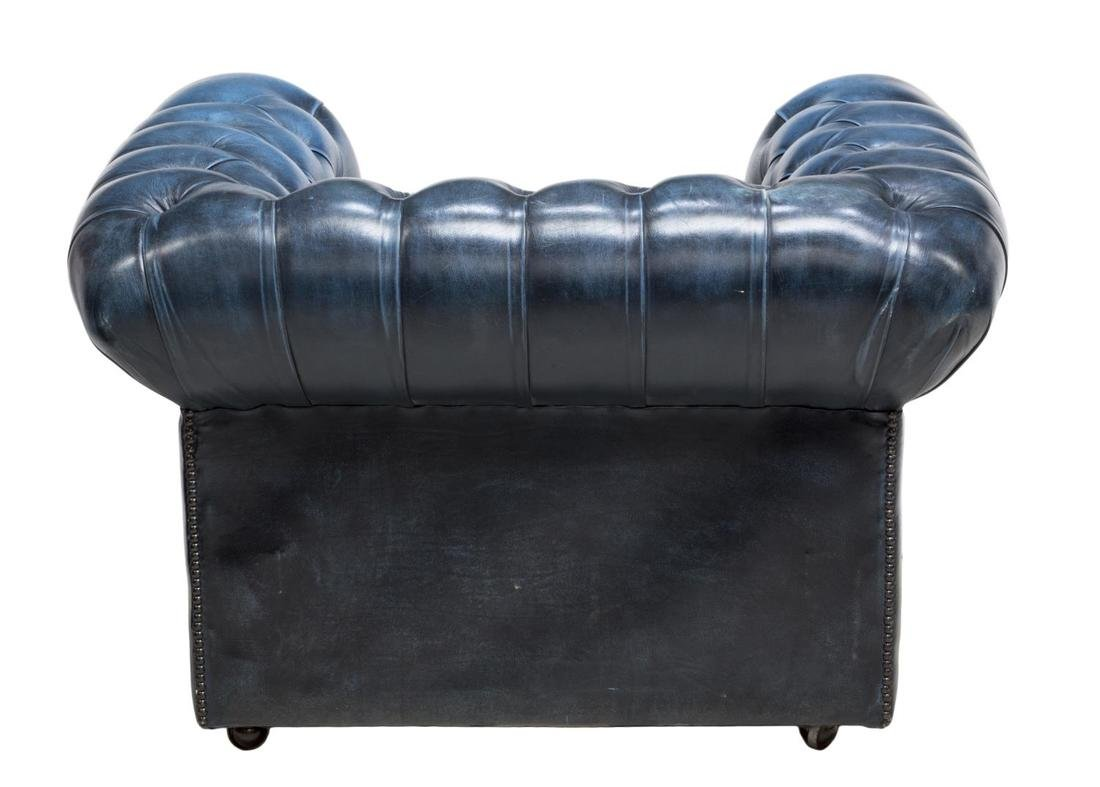 ENGLISH CHESTERFIELD BLUE LEATHER CLUB CHAIR - 3