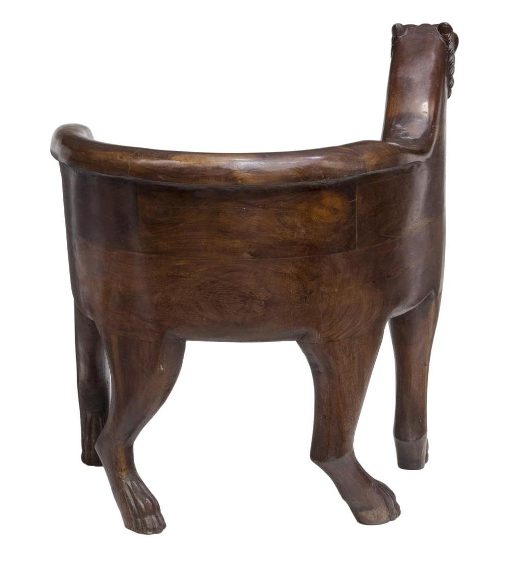 CARVED TEAKWOOD LEOPARD CHAIR - 3