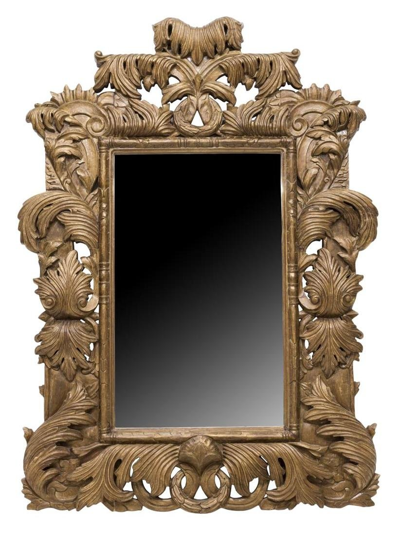 LARGE HEAVILY CARVED BEECHWOOD WALL MIRROR