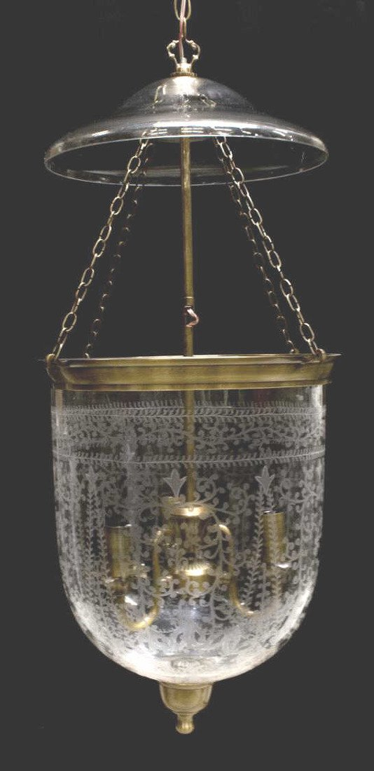 BRITISH COLONIAL ETCHED BELL-JAR GLASS CHANDELIER