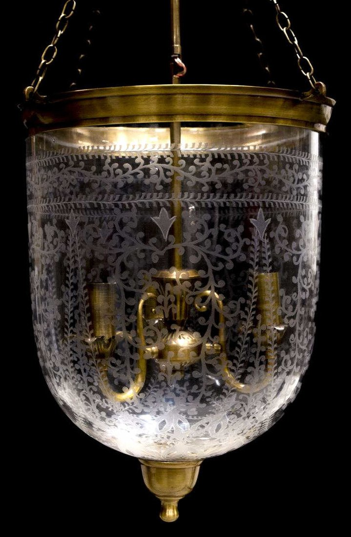 BRITISH COLONIAL ETCHED BELL-JAR GLASS CHANDELIER - 2