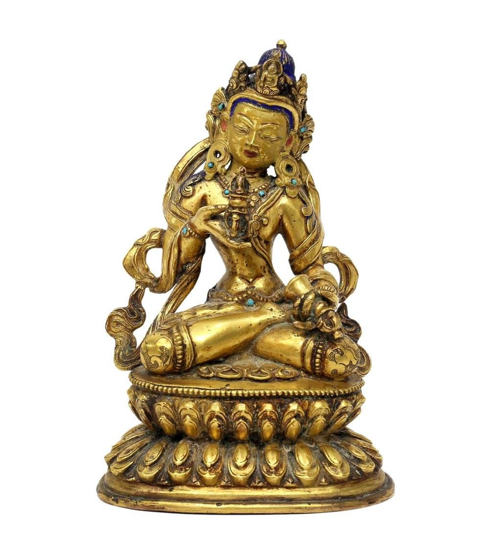 TIBETAN GILT BRONZE & TURQUOISE BUDDHIST FIGURE