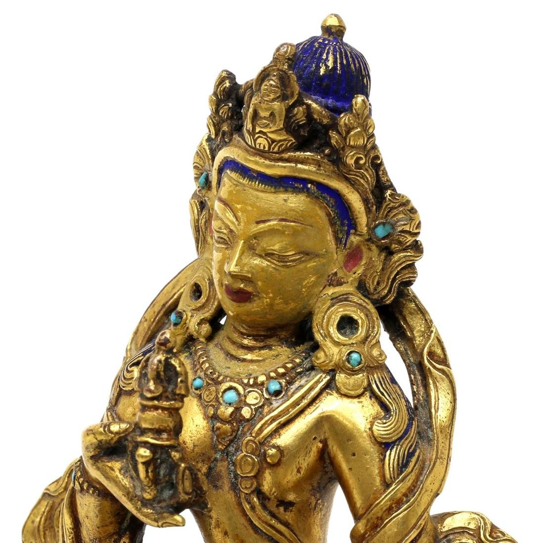 TIBETAN GILT BRONZE & TURQUOISE BUDDHIST FIGURE - 3