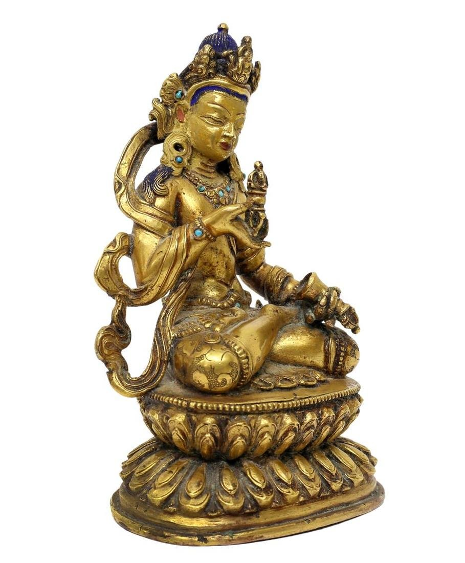 TIBETAN GILT BRONZE & TURQUOISE BUDDHIST FIGURE - 4