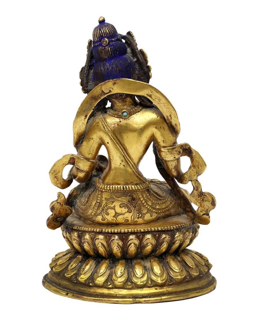 TIBETAN GILT BRONZE & TURQUOISE BUDDHIST FIGURE - 6