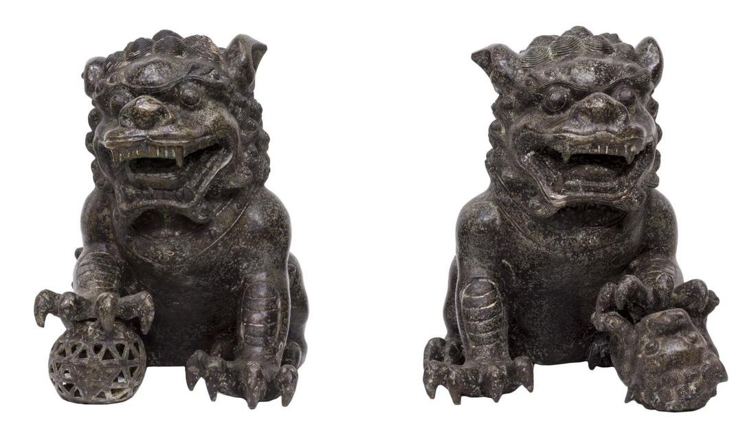 (PAIR) CHINESE PATINATED BRONZE FU-LION STATUES