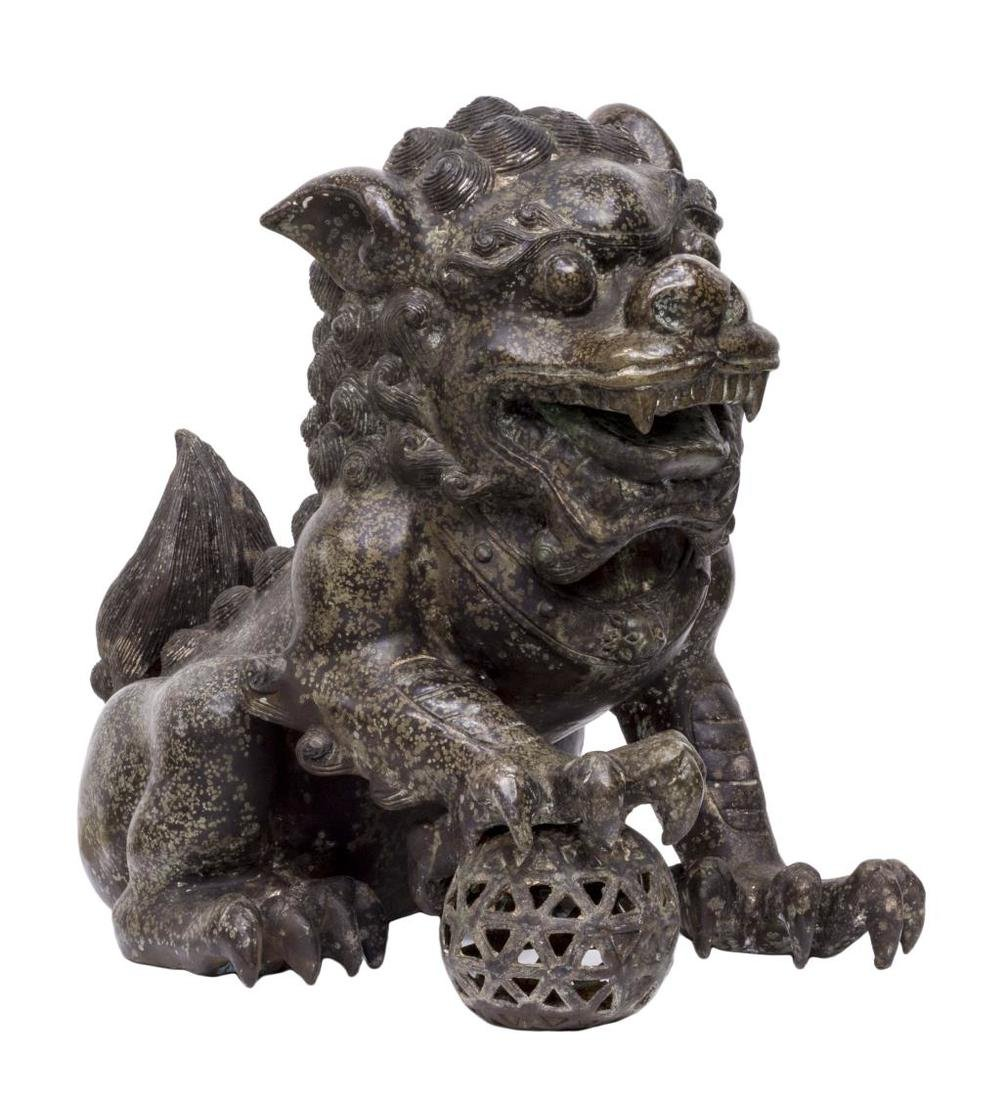 (PAIR) CHINESE PATINATED BRONZE FU-LION STATUES - 2