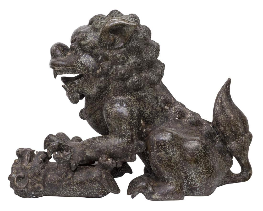 (PAIR) CHINESE PATINATED BRONZE FU-LION STATUES - 3
