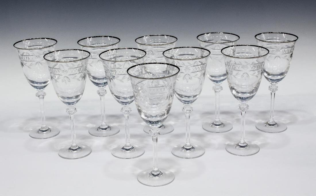 (10) ROYAL DOULTON WELLESLEY-PLATINUM GOBLETS