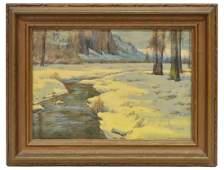 HENRY L RICHTER 18701960 WINTER WATERCOLOR