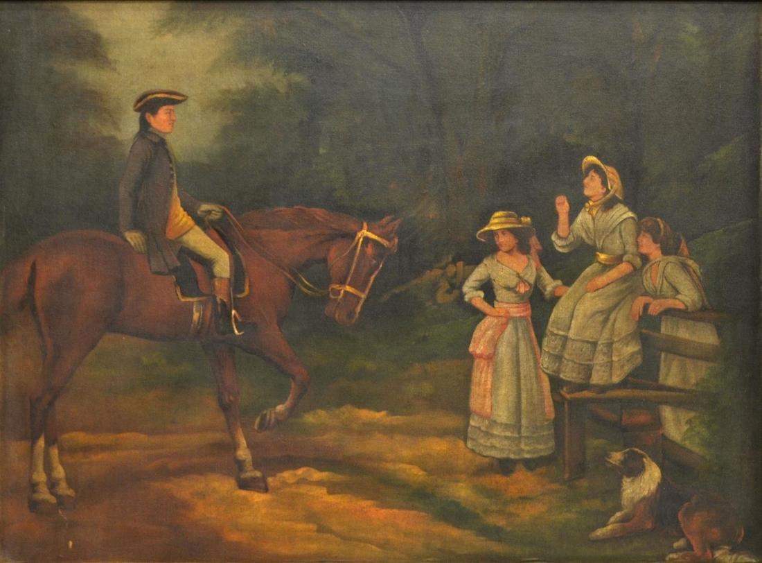 LARGE FRAMED PAINTING, ENGLISH GENT ON HORSEBACK