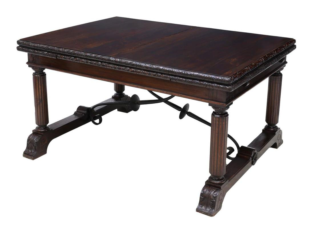 SPANISH CARVED BAROQUE EXTENDING DINING TABLE - 2