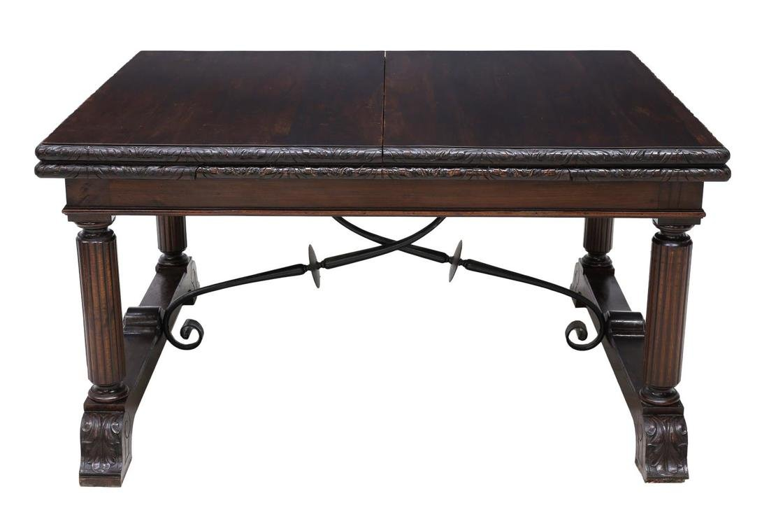 SPANISH CARVED BAROQUE EXTENDING DINING TABLE - 3