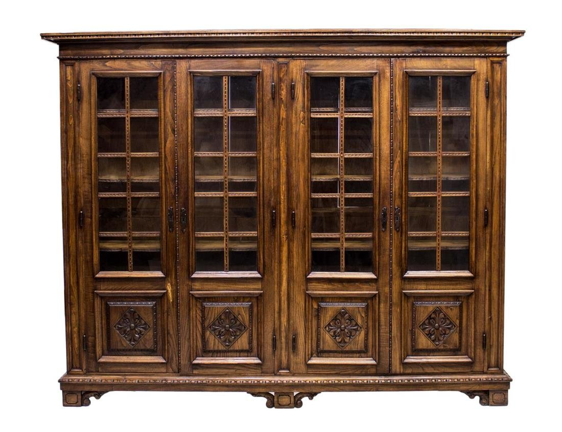FRENCH FOUR DOOR LIBRARY BOOKCASE - 2