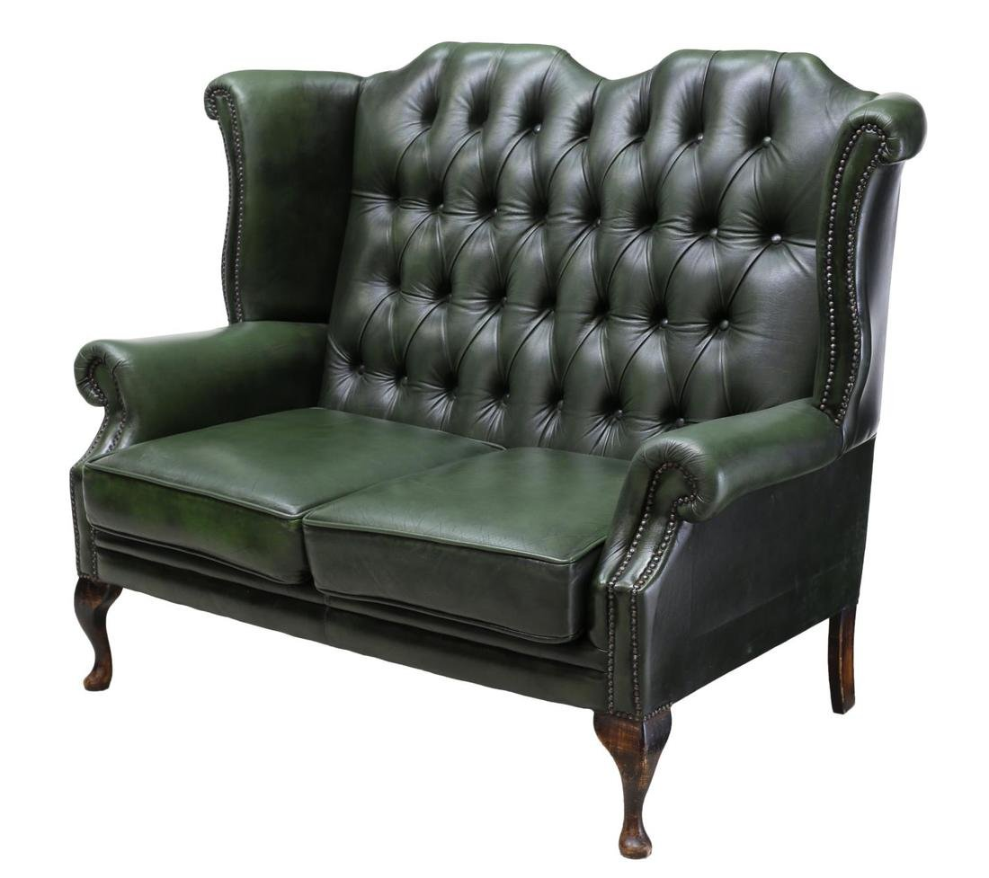 ENGLISH GREEN LEATHER CHESTERFIELD HIGHBACK SOFA