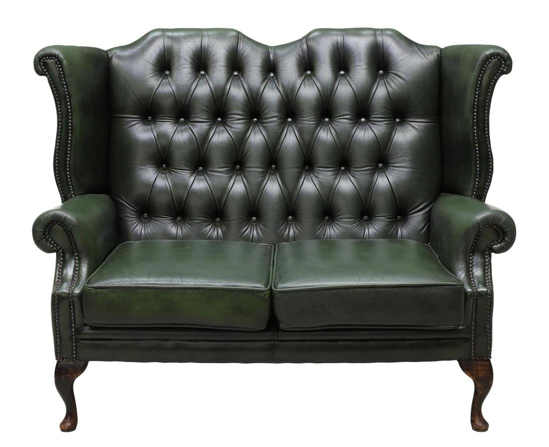 ENGLISH GREEN LEATHER CHESTERFIELD HIGHBACK SOFA - 2
