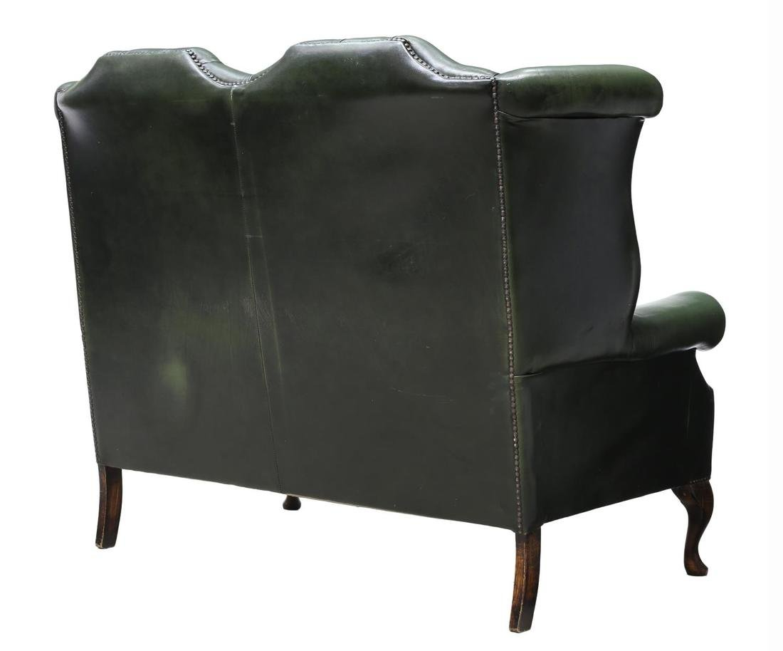 ENGLISH GREEN LEATHER CHESTERFIELD HIGHBACK SOFA - 3