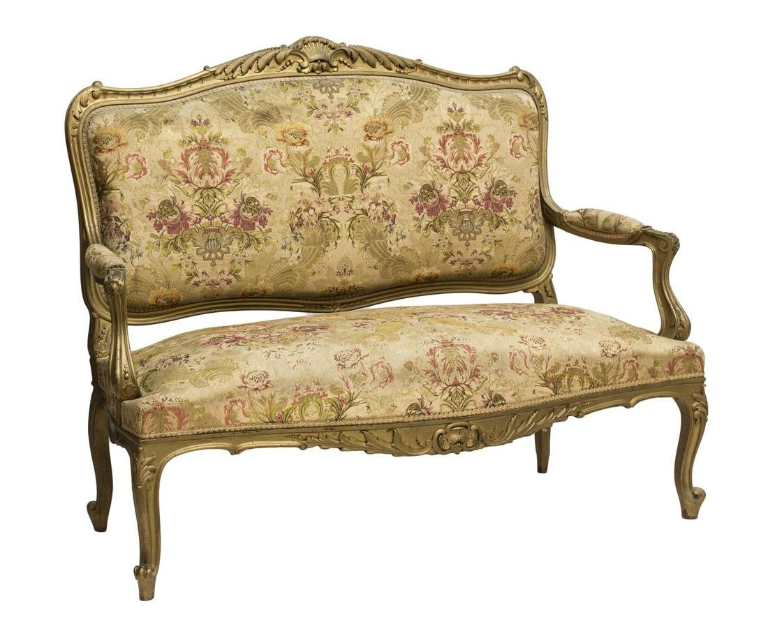 FRENCH LOUIS XV STYLE GILTWOOD OPEN ARM SOFA 19THC