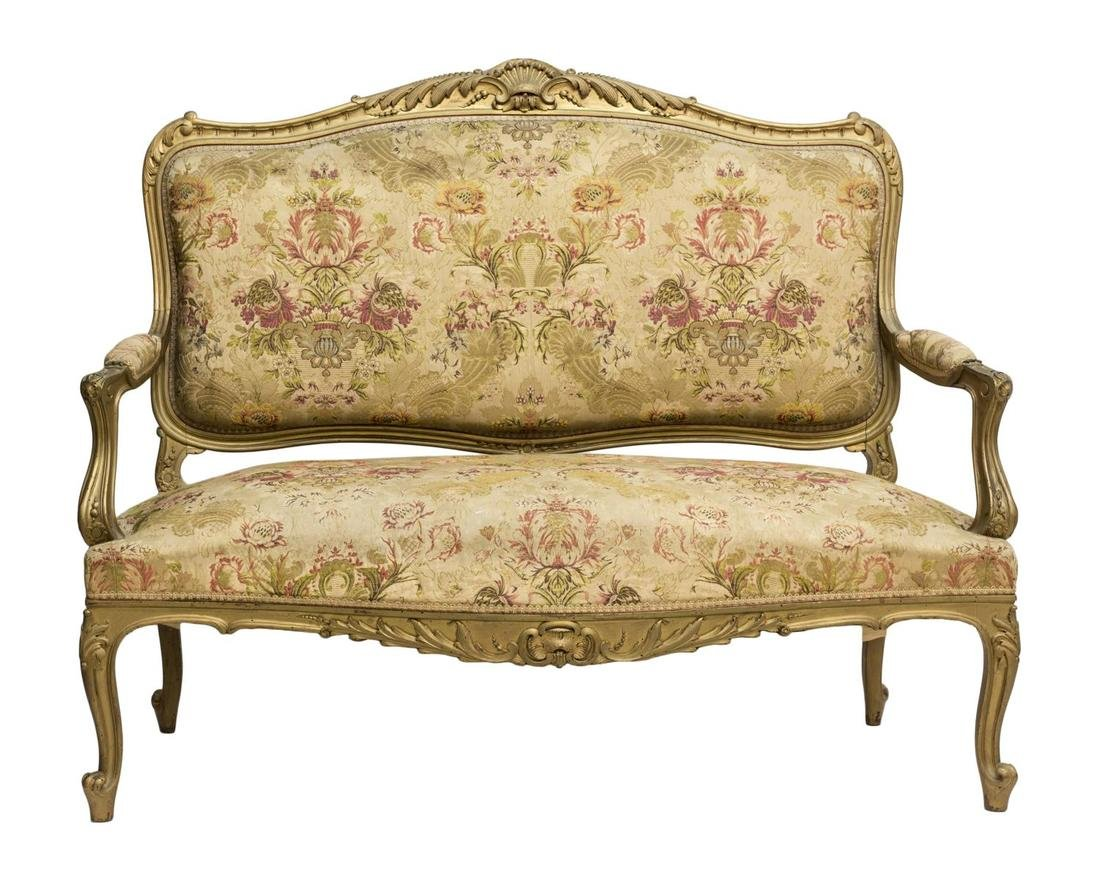 FRENCH LOUIS XV STYLE GILTWOOD OPEN ARM SOFA 19THC - 2