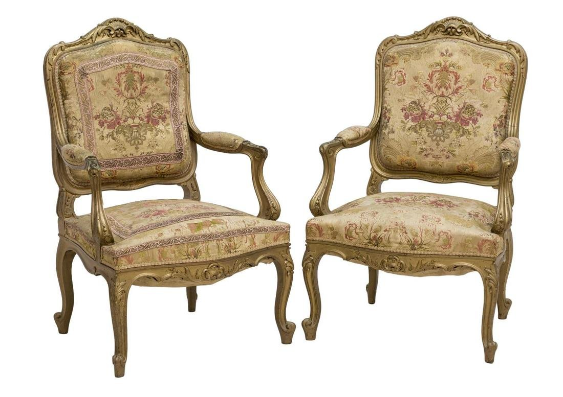 (2) FRENCH LOUIS XV STYLE GILTWOOD OPEN ARMCHAIRS
