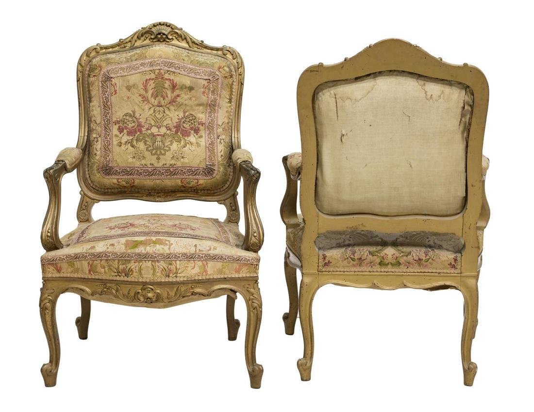 (2) FRENCH LOUIS XV STYLE GILTWOOD OPEN ARMCHAIRS - 2